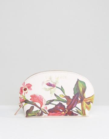 Ted Baker Floral Print Makeup Bag In White - Pink