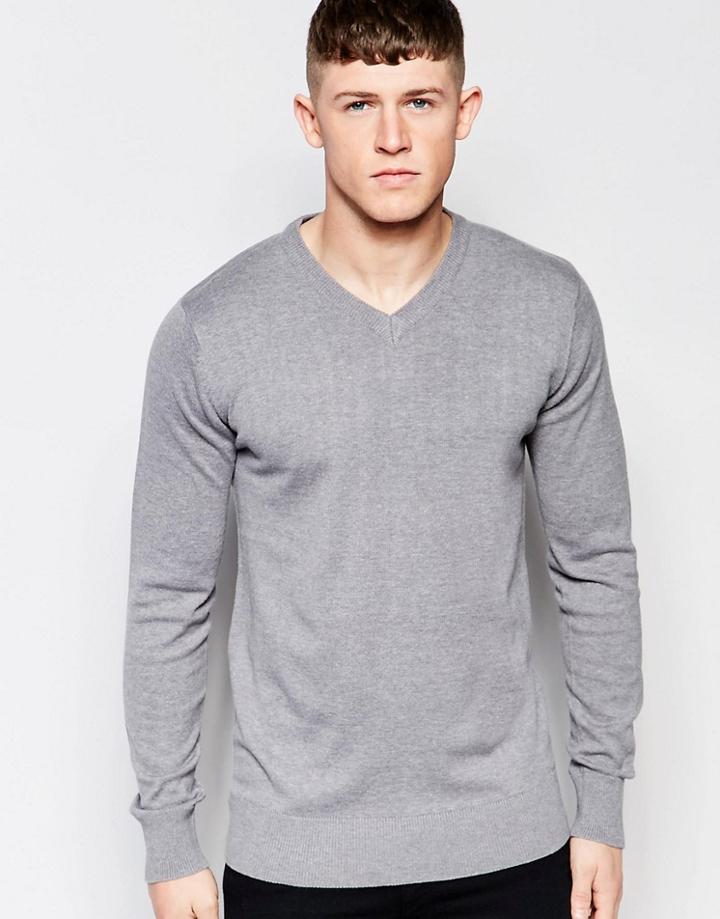 Brave Soul V Neck Sweater - Gray