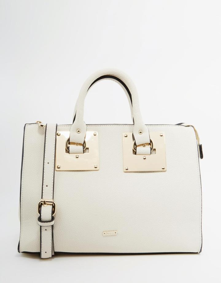 Nali Mini Handheld Tote Bag With Optional Shoulder Strap - Cream