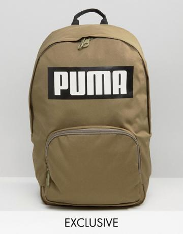 Puma Exclusive To Asos Logo Backpack In Khaki - Green