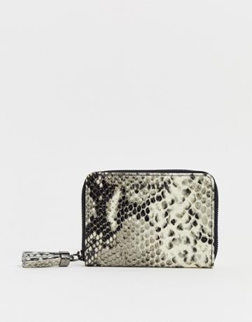 Ted Baker Jet Tassel Zip Around Small Ladies' Wallet In Snake - Black