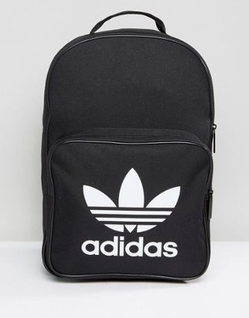 Adidas Originals Trefoil Backpack In Black With Front Pocket Bk6723 -