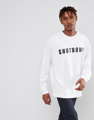 Asos Oversized Sweatshirt With Shut Down Print - White