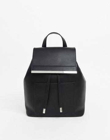 Asos Design Backpack With Bar Detail-black