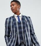 Noak Skinny Suit Jacket In Check - Navy