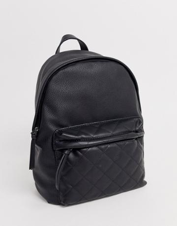 Stradivarius Backpack With Diamond Stitch Pocket In Black - Black