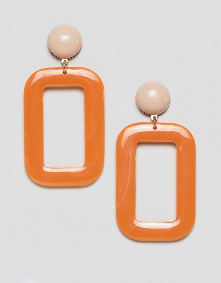 Mango Resin Rectangle Earrings - Orange