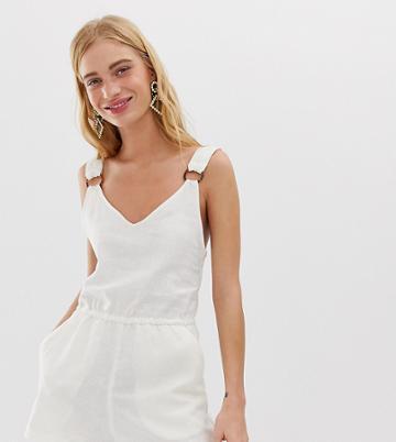 Monki Linen Romper In Off White - White