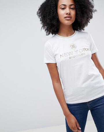 New Look New York Slogan Tee - White