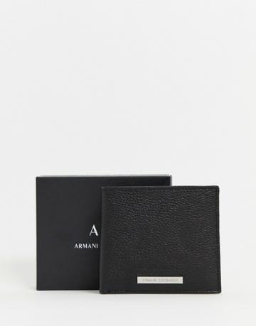 Armani Exchange Grain Leather Coin Wallet In Black - Black