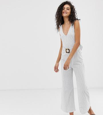 Asos Design Tall Stripe V Neck Jumpsuit With Belt - Multi