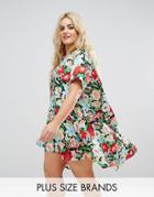 Ax Paris Plus Floral Swing Dress - Multi