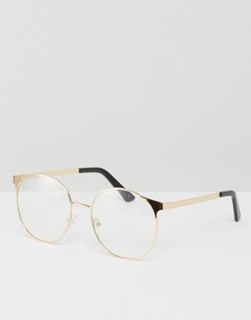 Asos Geeky Clear Lens Metal Round Glasses - Gold