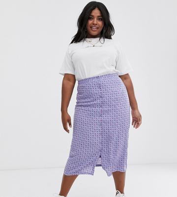 Daisy Street Plus Button Through Midi Skirt In Vintage Ditsy Floral - Purple
