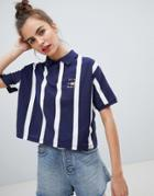 Pull & Bear Stripe Polo Tshirt - Navy
