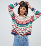 Mango Crochet Knit Sweater In Multi-cream
