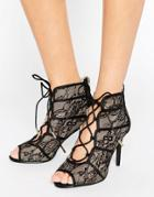 Forever Unique Rena Lace Heeled Sandal - Black