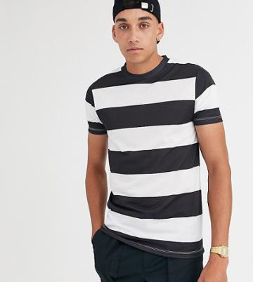 Asos Design Tall Wide Stripe T-shirt In Black And White