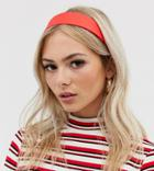 My Accessories London Exclusive Red Satin Wide Headband - Red