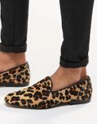 Asos Loafers In Leopard Skin Effect - Yellow