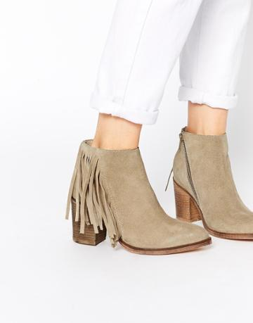 Asos Riley Suede Fringe Ankle Boots - Sand