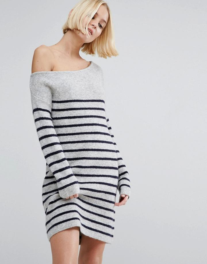 Asos Sweater Dress With Off Shoulder In Stripe - Gray