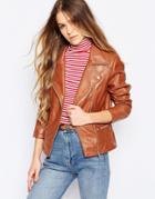 Barney's Originals Leather Biker Jacket - Tan