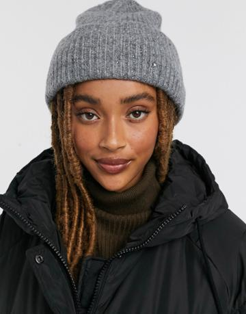 Pieces Knitted Beanie With Embellishment In Gray-grey