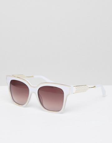 Christian La Croix Square Sunglasses In Cream - White