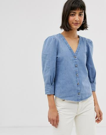 Monki Denim V-neck Blouse With Puff Sleeves In Blue - Blue