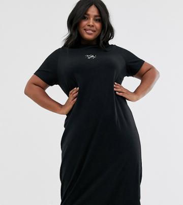 Daisy Street Plus Midi T-shirt Dress With Constellation Embroidery - Black