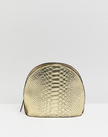 Asos Design Leather Metallic Croc Half Moon Cross Body Bag - Gold