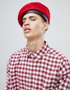 Asos Design Beret In Red - Red
