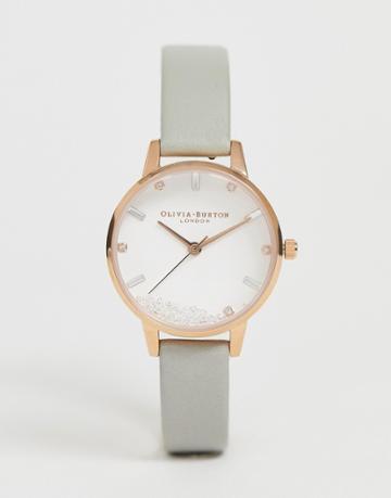 Olivia Burton Ob16sg08 Wishing Watch Leather Watch - Gray