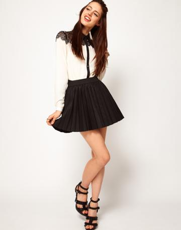 Asos Pleated Skirt In Leather Look