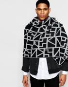 Asos Blanket Scarf In Black And White Design - White