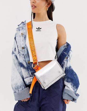 Asos Design Metallic Sling Bag With Neon Sports Strap - Silver