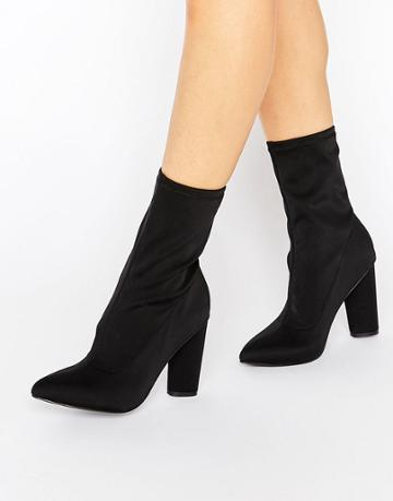 Missguided Pointed Toe Neoprene Heeled Ankle Boot - Black