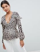 Missguided Leopard Print Wrap Blouse - Brown