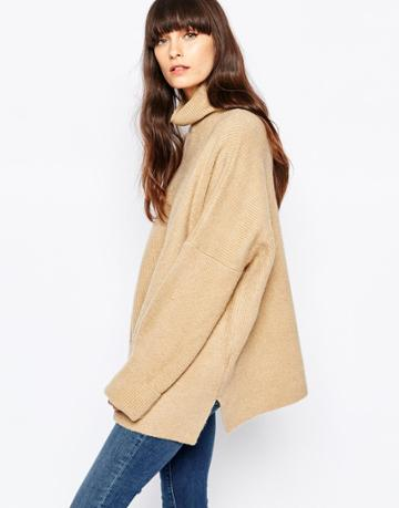 Paisie Slouchy Turtleneck Sweater - Camel
