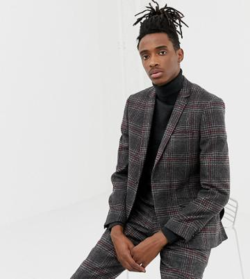 Heart & Dagger Slim Fit Wool Mix Suit Jacket In Charcoal - Gray