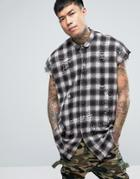 Sixth June Sleeveless Distressed Checked Shirt - Brown