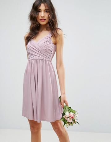 Asos Wedding Drape Front Mini Dress - Beige