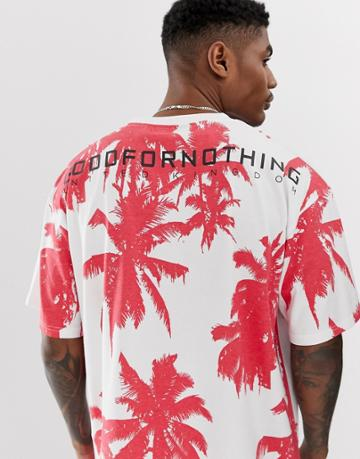 Good For Nothing Oversized T-shirt In Palm Print - Blue