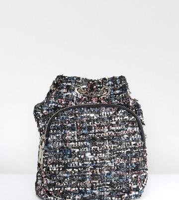 Reclaimed Vintage Inspired Lurex Tweed Mini Backpack - Black