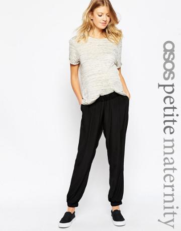 Asos Maternity Petite Pant With Elastic Cuff - Black
