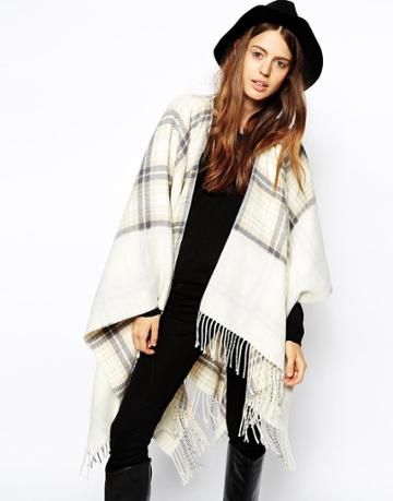 Asos Reversible Cape With Check Panel
