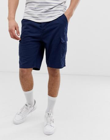 Only & Sons Drawstring Ripstop Cargo Shorts In Navy - Navy