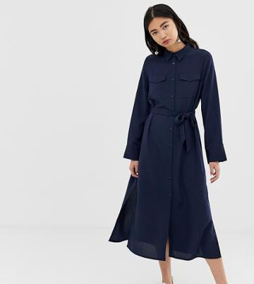 Monki Utility Midi Shirt Dress In Navy - Navy