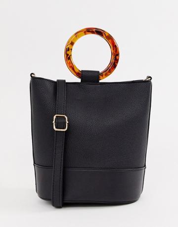 New Look Structured Round Handle Bucket Bag In Black - Black